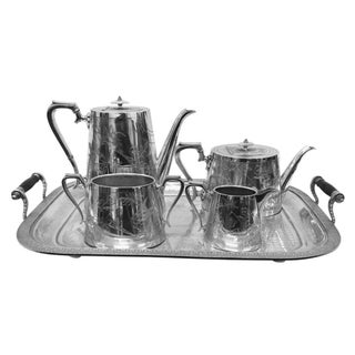 1880s Victorian Aesthetic Style Silver Plated Tea Service For Sale