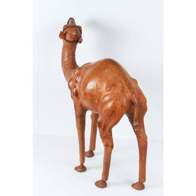 Folk Art Moroccan Leather Wrapped Camel Sculpture For Sale - Image 3 of 7