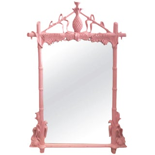 Gampel & Stoll Lacquered Flamingo Pink Faux Bamboo Wall Mirror For Sale
