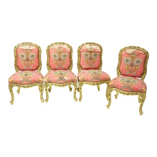 Gilt Antique French Dining Chairs - Set of 4 For Sale