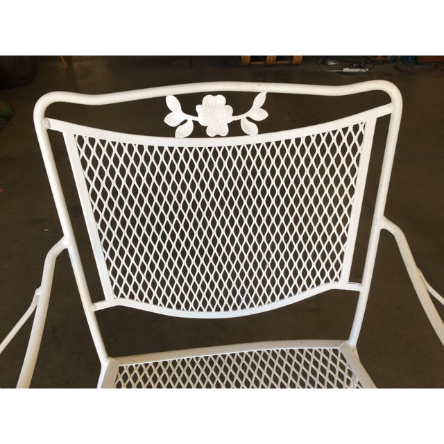 Woodard Furniture Co. Woodard Company Mesh Outdoor/Patio Chair With Leaf Pattern Arms - Set of 4 For Sale - Image 4 of 8