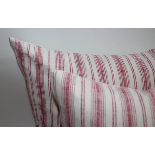 19th Century Red Ticking Pillows, Pair - Image 6 of 8