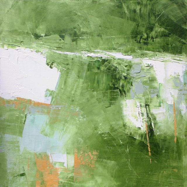 Small abstract oil painting on board in shades of Greens, white, gray &raw sienna. Original Abstract painting by Dallas...