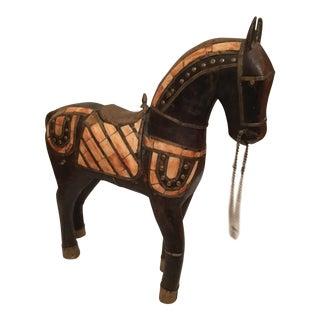 Vintage Teak Wood Hand Carved Horse