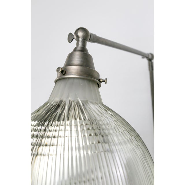 Metal Reeded Holophane Shades as Armed Sconces For Sale - Image 7 of 12