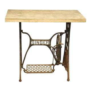Olde Singer Table With Butcher Block Top