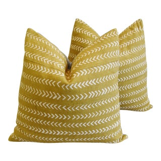 "Custom Gold & Cream Mali Tribal Mud Cloth Feather/Down Pillows 22""- Pair For Sale"