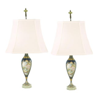 19th Century Sevres Style Porcelain / Onyx Base Table Lamps - a Pair For Sale