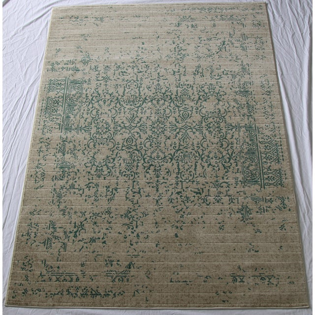 """Teal Distressed Patterned Rug - 8'x10'7"""" - Image 2 of 7"""