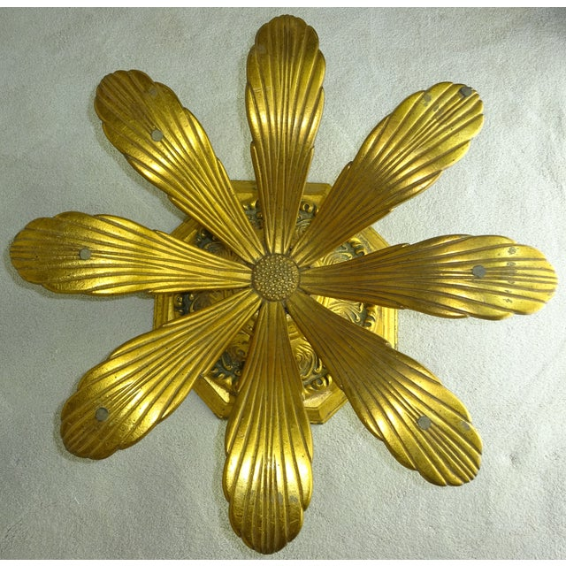 Hollywood Regency Cast Gilt Aluminum Sunflower Table with Glass Top For Sale - Image 3 of 11