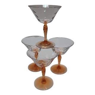 Late 20th Century Amber Stem Martini Glasses - Set of 4 For Sale