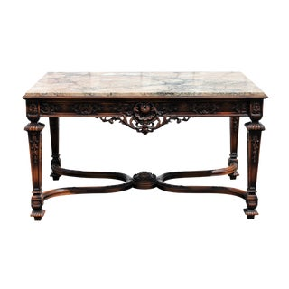 French Style Marble Top Library Table For Sale