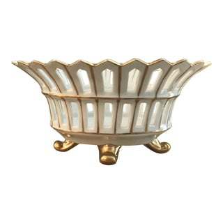 Antique French White Gilt Reticulated Porcelain Basket Cachepot For Sale