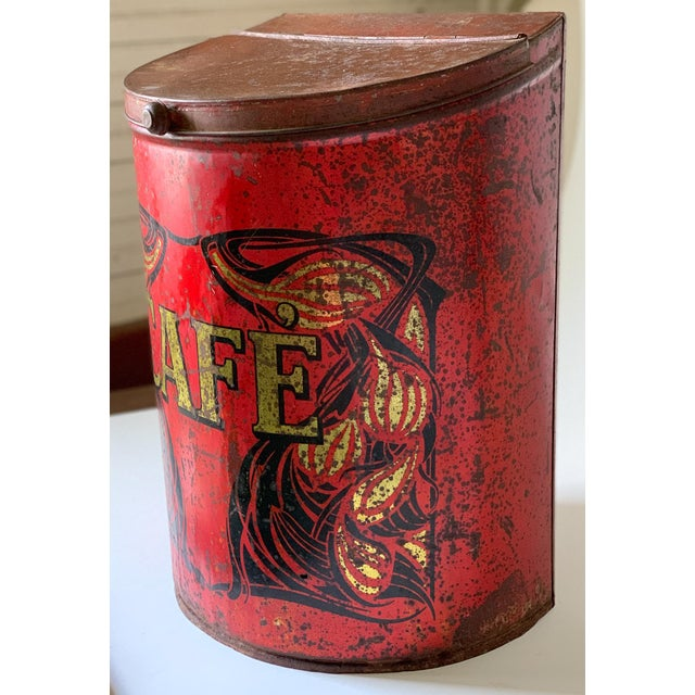 1920s 1920s Large French Country Store Coffee Tin For Sale - Image 5 of 11