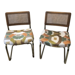 1960s Vintage Mid-Century Modern Caneback Chrome Cantilever Chairs - A Pair For Sale