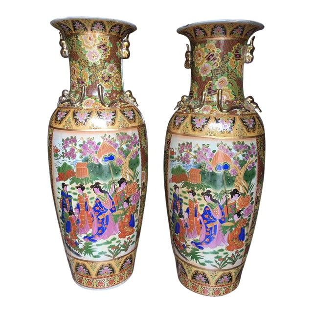Tall Chinese Vases with Decorative Scenes, 20th Century - A Pair For Sale