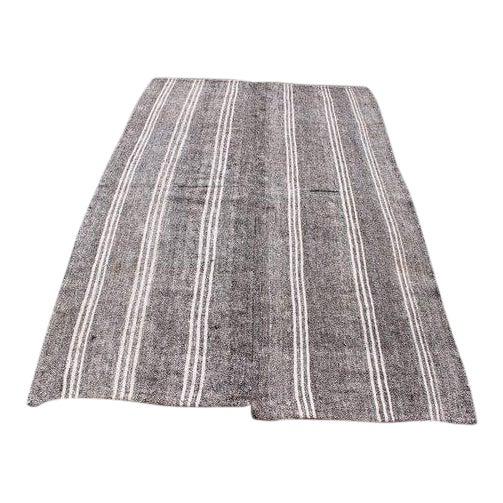 1960s Vintage Turkish Striped Kilim Rug - 4′9″ × 7′4″ For Sale