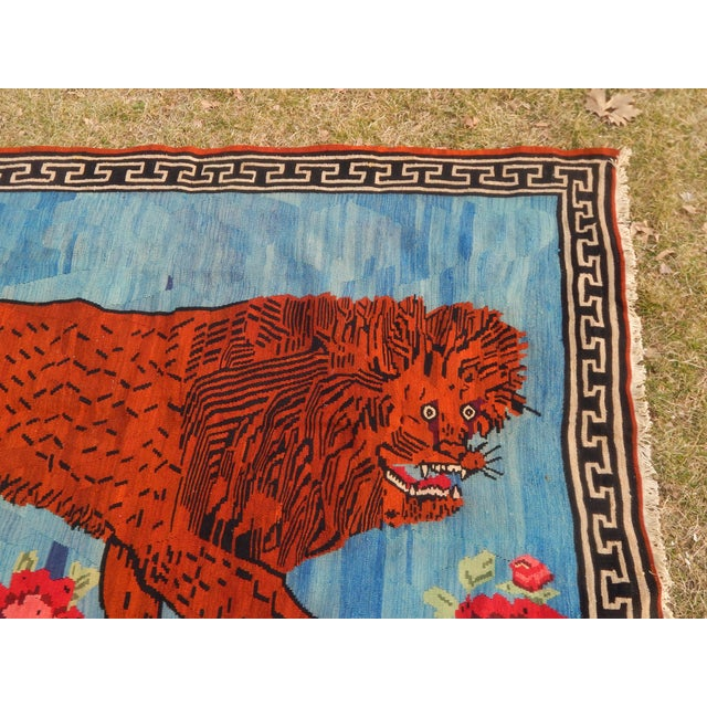 Vintage Gabbeh Lion Kilim Rug - 5'1'' X 7'3'' For Sale - Image 4 of 13