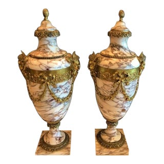 French Marble and Dore' Bronze Cassolettes, Ca.1880 - a Pair For Sale