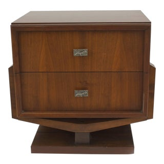 American '1970s' Brutalist Style Walnut Bedside Table For Sale