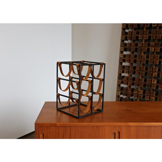 Tan 1955 Arthur Umanoff Iron and Leather Straps Wine Rack For Sale - Image 8 of 9
