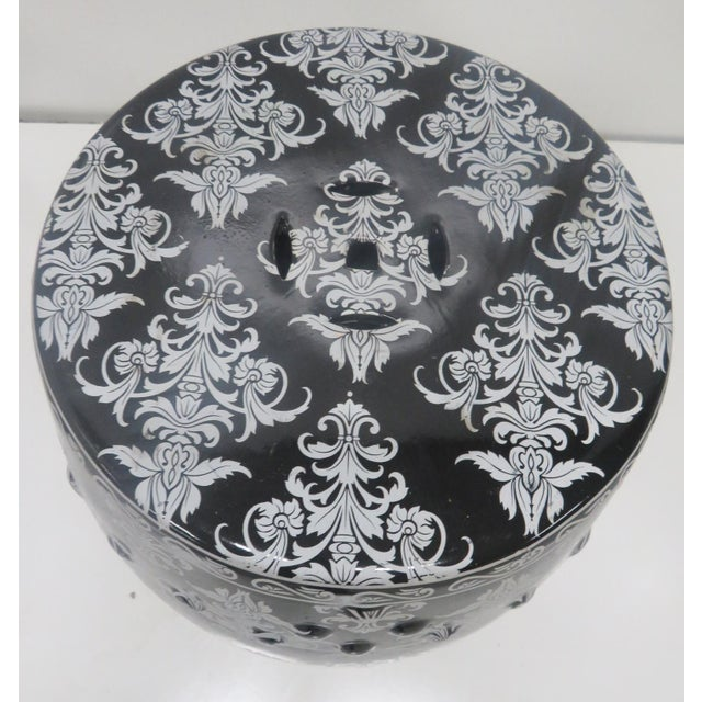 Asian Chinese Black & Silver Leaf Garden Stool For Sale - Image 3 of 5