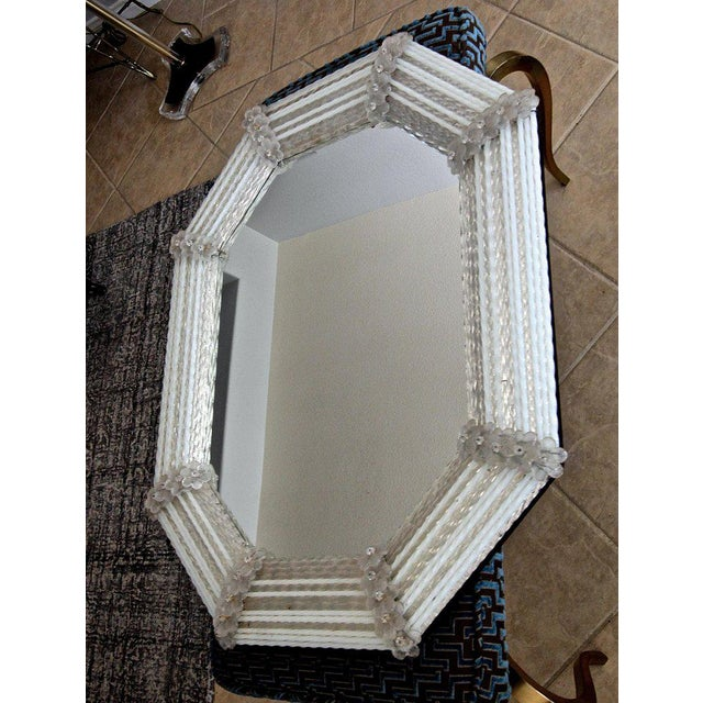 Murano Venetian White Clear Twisted Rod Floral Wall Mirror For Sale - Image 4 of 13