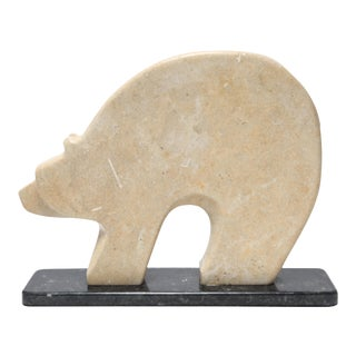 Kelly 'Nitushi' Byars Native American Polar Bear Hardstone Sculpture For Sale