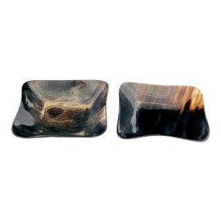 Square Horn Tray Dish - Set of 2 For Sale