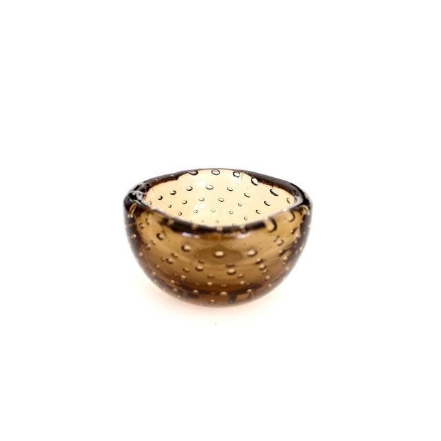 Venini 1950s Carlo Scarpa for Venini Murano Bulicante Small Bowl Amber Glass For Sale - Image 4 of 10