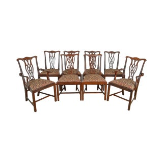 Chippendale Style Set of 8 Solid Mahogany Dining Chairs by Hickory Chair For Sale