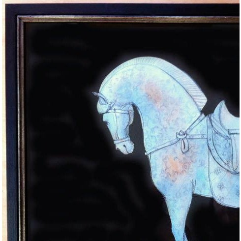 Figurative Tang Blue Scroll II - Work on Paper For Sale - Image 3 of 4