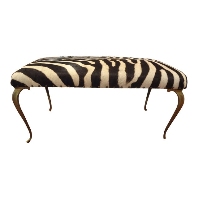 Italian Brass Bench Upholstered in Zebra Hide - Image 1 of 8
