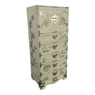 Vintage Asian Style Painted Tall Narrow Lingerie Jewelry Chest For Sale