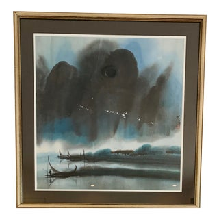 Chinese Fishing Boats Watercolor Painting For Sale
