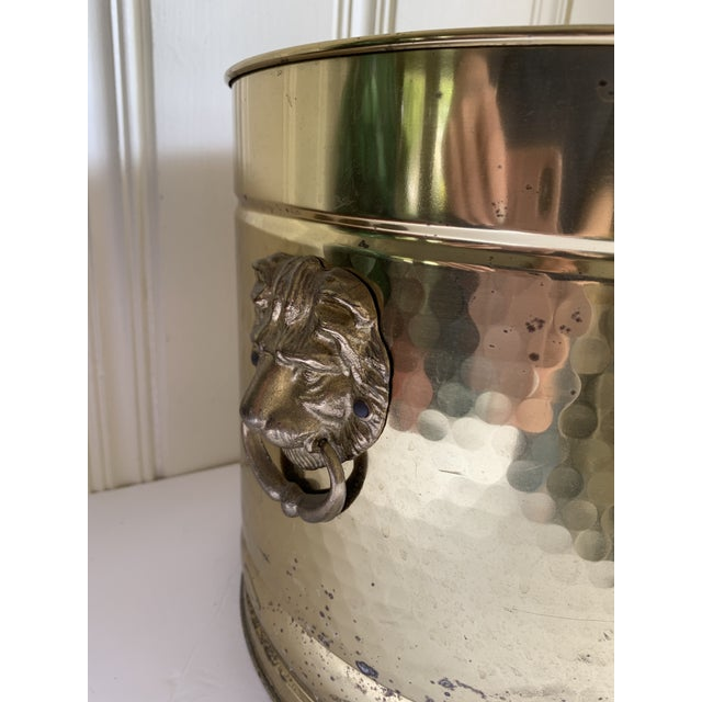 Gold Gold Metal Lion Head Vessels, Set of Two For Sale - Image 8 of 13