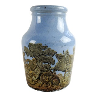 English Antique Blue Porcelain Prattware Jar For Sale