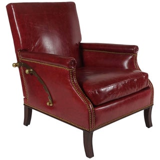 Reclining Leather Chair or Recliner by Maurice Hirsch, France, C. 1950 For Sale