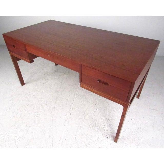 Danish Modern Mid-Century Modern Teak Double-Sided Desk For Sale - Image 3 of 11
