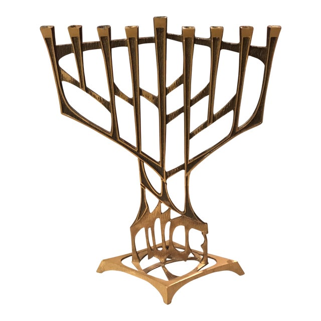 Mid-Century Brutalist Oppenheim Menorah Candle Holder For Sale