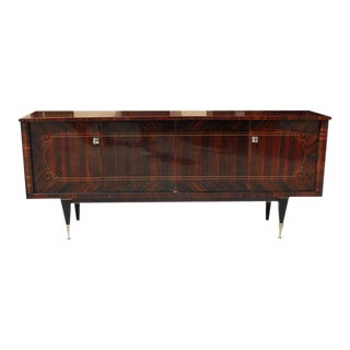 Beautiful French Art Deco Macassar Exotic Dark Grain Sideboard / Credenza / Buffet Circa 1940s