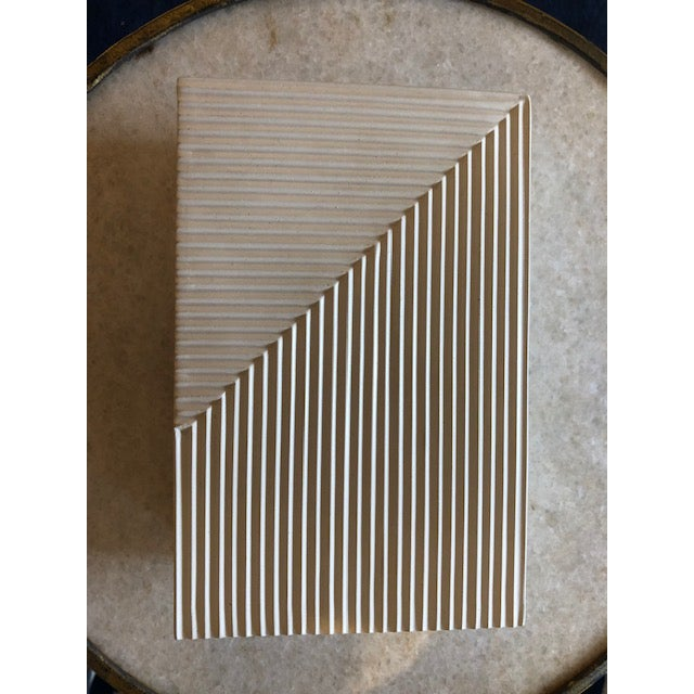 Contemporary Modern Cream Cement Box For Sale - Image 3 of 6
