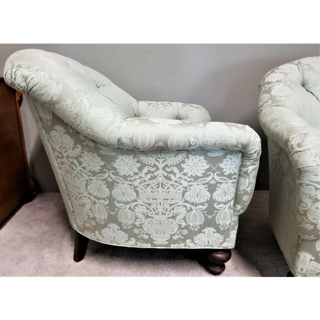 Hollywood Regency Drexel Heritage Upholstery Collection Damask Tufted Barrel Club Armchairs - Set of 2 For Sale - Image 3 of 9