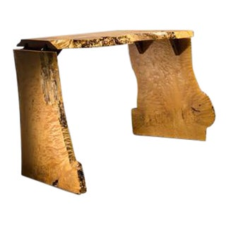 Michael Elkan Studio Crafted Maple Burl Console Table or Desk, Usa, 1980s For Sale
