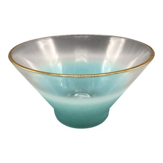 Mid Century Blendo Chip and Dip Vintage Blue Glass Bowl With Gold Trim For Sale