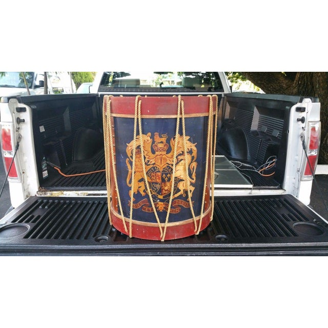 This is a whimsical vintage polychromed table in the form of a drum. The piece is possibly English, circa 1950.
