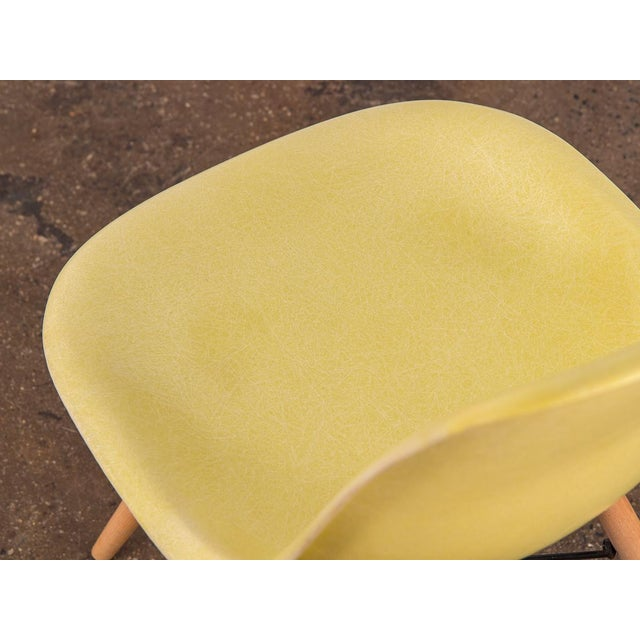 Fiberglass Canary Yellow Eames Shell Chair on Maple Dowel Base for Herman Miller For Sale - Image 7 of 8