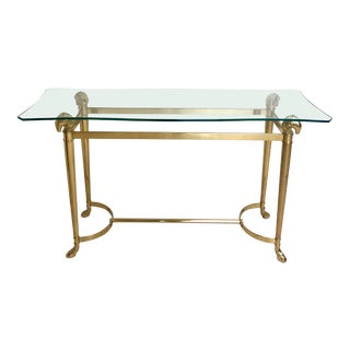 1970s Art Deco Brass and Glass Ram Head Footed Sofa Table For Sale