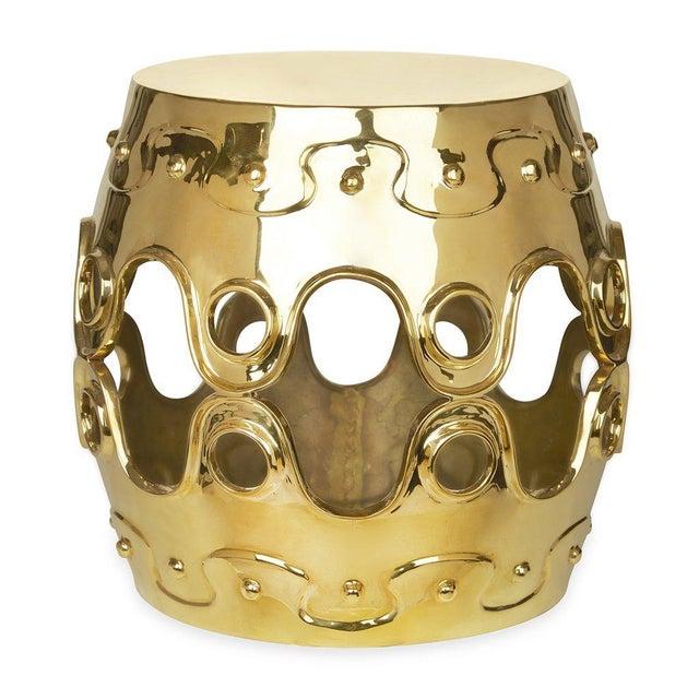 Modern Jonathan Adler Ulu Brass Convex Side Table For Sale - Image 3 of 3