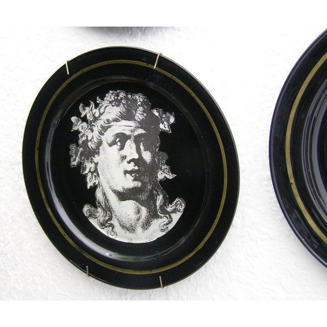 Fornasetti Style Neoclassical Black Glass Wall Plates - Set of 6 Mid-Century Modern MCM - Image 5 of 11